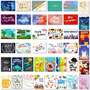 PartyKindom 40 Pack Birthday Cards with All Different Designs, Gold & Silver Foiled Blank Cards with Envelopes, Suitable for Women and Men, Children and Adults