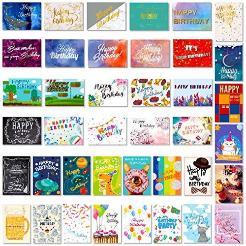 PartyKindom Geburtstagskarten, sortiert, 40 verschiedene Designs – Happy Birthday Karte mit 4 Goldfolien, 9 Silberfolienkarten und 27 bunte Karten
