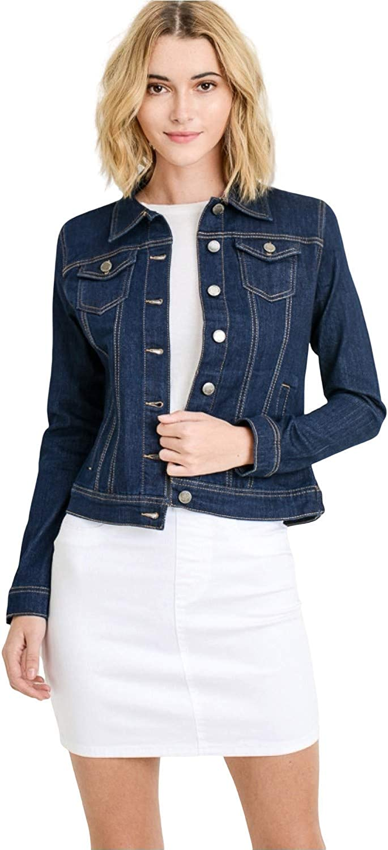 LIZMEMORY Women's Classic Casual Long Sleeve Button Down Stretch Denim Jeans Jacket W/Pocket (Super Dark Denim 1X)