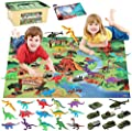 JOYIN Dinosaur Toy, 15 Pieces Realistic Dinosaur Figures Playset and 8 Military Die-cast Vehicles with Educational Booklet, Play Mat and Storage Box for Imaginative Dino World Park by Joyin inc