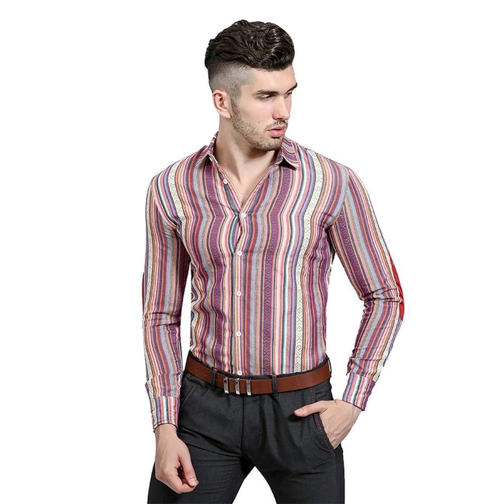 Camisas para hombres Personalidad Étnica Agujero del viento Agujeros Hacer camisa de manga larga ocasional solapa
