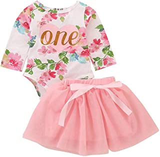 HESHENG Newborn Baby Girls Clothes 1st Birthday Floral Romper Top + Tutu Skirt Dresses 2Pcs Outfit Set