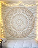 Indian Hippie Mandala Tapestry Wall Hanging Psychedelic Bedding Wall Art Bohemian Wall Tapesty Hanging Trippy Tapastry (Gold, 85x55 Inch)