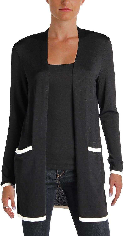 Lauren Ralph Lauren Womens Petites Contrast Trim Open Front Cardigan Sweater
