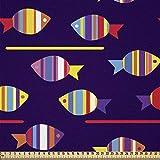 ABAKUHAUS Fisch Stoff als Meterware, Regenbogen gemusterte