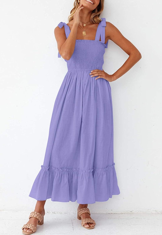 ZESICA Women's Summer Boho Spaghetti Strap Square Neck Solid Color Ruffle A Line Beach Long Maxi Dress
