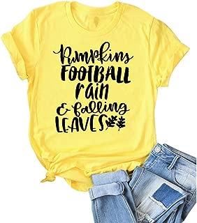 Women Pumpkins Football Rain Falling Leaves Letter Print Tops Short Sleeve Graphic Tee Novelty T-Shirt