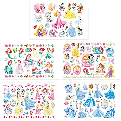 Qemsele Tatuajes Temporales Para Niños Niñas, 10 Sheets 200+ Pcs Hojas Dibujos animados Tatuaje Falso Pegatinas Para piñata Niños infantiles fiesta de cumpleaños regalo Bolsas Relleno (Princesa)