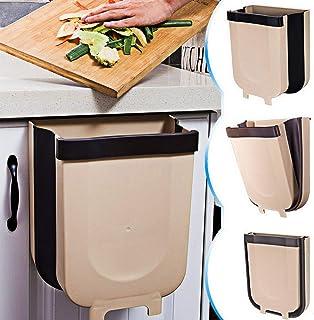 HOME-MART Kitchen Trash Can,9L Hanging Foldable Trash Bin Wall Mounted Waste Bin for Kitchen Toilet Bathroom Living Room (...