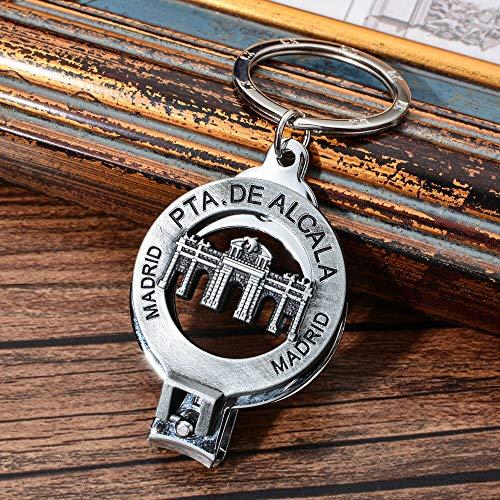 MINTUAN Schlüsselbund Schlüsselring Spanien Tor Von Alcala Nagelknipser Schlüsselanhänger Vintage Style Triumph Tor Schlüsselbund Madrid Reise Souvenir Schlüsselanhänger Für Geschenk