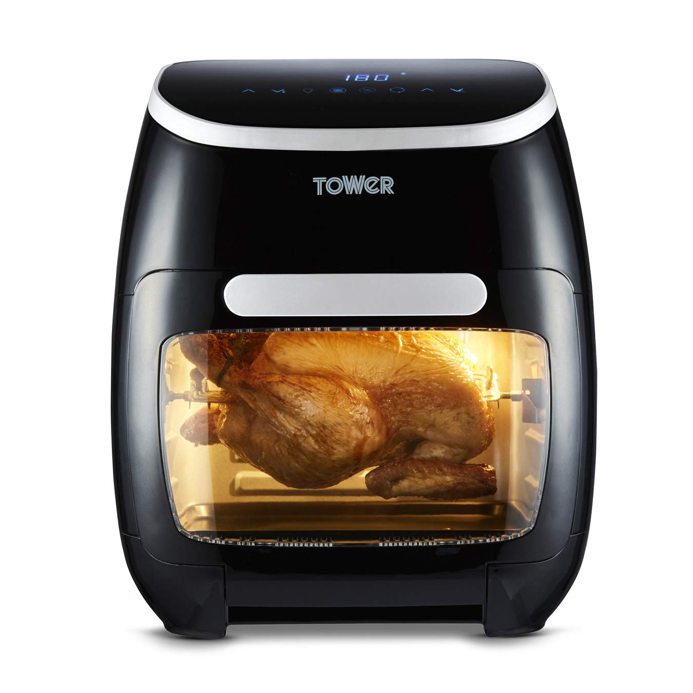 Tower T17065 Manual Air Fryer Oven with Rapid Air Circulation and 10 Preset Cooking Options 12 Litre Black