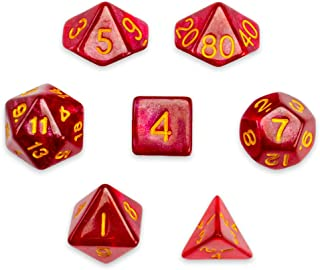 Wiz Dice 7 Die Polyhedral Dice Set - Philosopher's Stone (Red Glitter) with Velvet Pouch