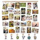 MOVEONSTEP Cornice Portafoto Multiple da Parete Cornici Foto Love per Appendere Foto Wall Decor Appese e 32 Clip (82 * 75 CM)