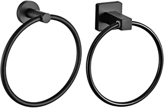 Anti-roest handdoek ring roestvrijstalen muur opknoping rack matte zwarte kleding houder badkamer supporter hardware acces...
