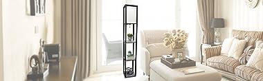 Simple Designs Home LF1014-BLK Etagere Organizer Storage Shelf Linen Shade Floor Lamp, Black