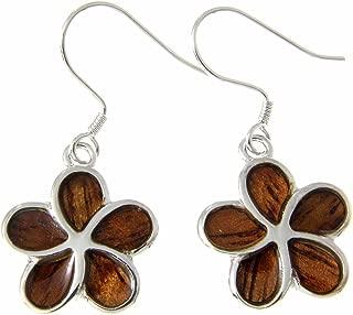 Koa Wood Hawaiian 15mm Plumeria Flower Rhodium Plated Brass Hook Wire Earrings