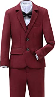 Yanlu Boys Suits Set 5 Piece Size 2T-14 Burgundy Slim Fit Boy Suit