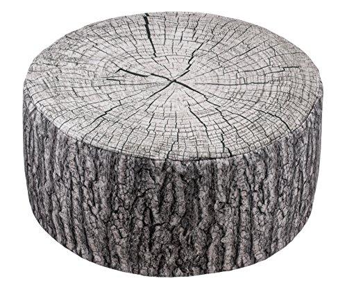 Brandsseller Outdoor Pouf Sitzhocker Sitzsack für drinnen und draußen aufblasbar - Baumstammdesign - 55 x 25 cm - Farbe: Grau