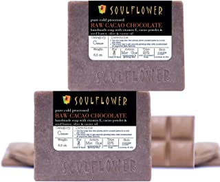 Soulflower Raw Cacao Chocolate Handmade Soap, Natural, Organic, Vegan and Coldprocessed, SLS Free, Moisturizes and Soften ...