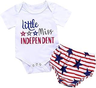 4th of July Toddler Baby Girl Romper American Flag Stars Stripes Pompom Tassel Balls + Headband
