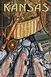 Kansas - Fishing Still Life (16x24 Fine Art Giclee Gallery Print, Home Wall Decor Artwork Poster)
