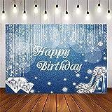 Avezano Denim Diamonds Birthday Backdrop Glitter Shiny Crystal Shoes Birthday Party Decoration Women's Birthday Theme Dessert Table Banner (7x5ft)