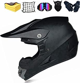 Motocross Helm Matte Schwarz, Herren Crosshelm mit Brillen Maske Handschuhe, Motorbike ATV MTB Freien Sport Motorcycle Helmet Set
