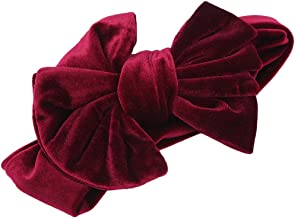 LIUCM Elastic Children's Big Bow Hair Band Gold Velvet Baby Holiday Headwear Hair Accessories Wine Red