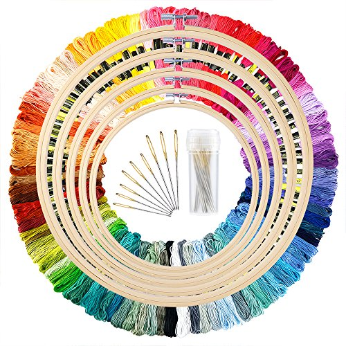 Caydo 5 Pieces Bamboo Embroidery Hoops with 100 Colors Skeins Embroidery Thread Floss Cross Stitch and Needles