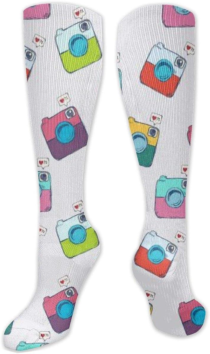 Vintage Camera Pattern Knee High Socks Leg Warmer Dresses Long Boot Stockings For Womens Cosplay Daily Wear