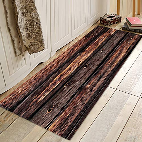 Dark Brown Old Wooden Board Print Foam Bath Rugs and Doormats Non Slip Absorbent Super Cozy Flannel Bathroom Rug Carpet 71 x 24 inches