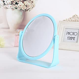 NYDZDM Simple High - Please Double - Sided Make - Up Mirror Desktop Dressing Mirror Dormitory Desktop Rotating Mirror (Color : Blue)