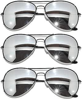 Black Frame & Mirrored Lens Aviator 3-Pack w/ Drawstring Sunglass Pouch