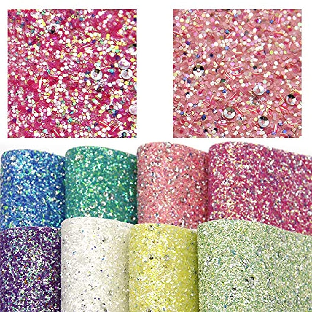 David accessories Chunky Glitter Faux Leather Fabric Sheet Crude Sequins Synthetic Leather 8 Pcs 8