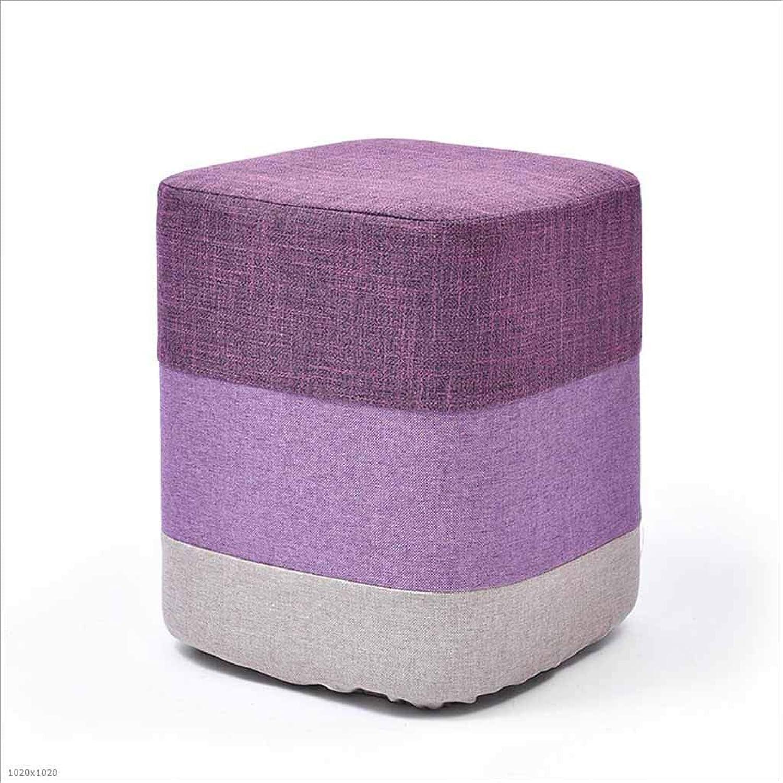 SZ JIAOJIAO Solid Wood Low Foot Stool Sofa Stool Household Linen High Elastic Sponge Stool Square Round,E2