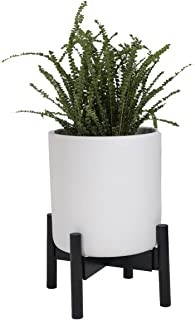 Sona Home Adjustable Mid Century Plant Stand, Available in 3 Sizes, 3 Colors - Modern Plant Stand for Indoor & Outdoor Use, Planter Stand Only (Low, Black)