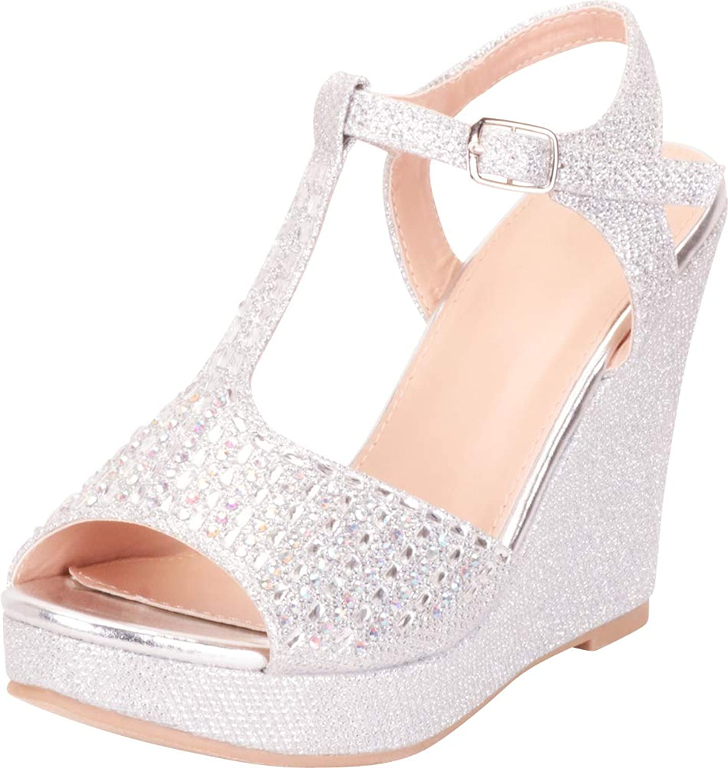 Cambridge Select Women's Open Toe T-Strap Crystal Rhinestone Chunky Platform Wedge Sandal