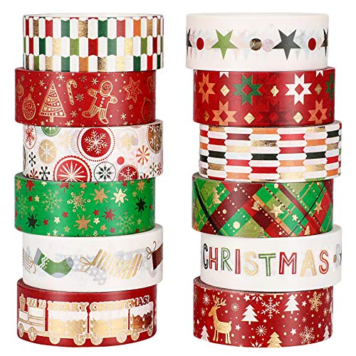 12 Rolls Christmas Pattern Washi Tape 15 mm/ 0.6 Inch Wide Christmas Decorative Paper Tape DIY Masking Craft Tape Sticky Christmas Tree Pattern Washi Tape for DIY Craft Scrapbook Journal Supplies