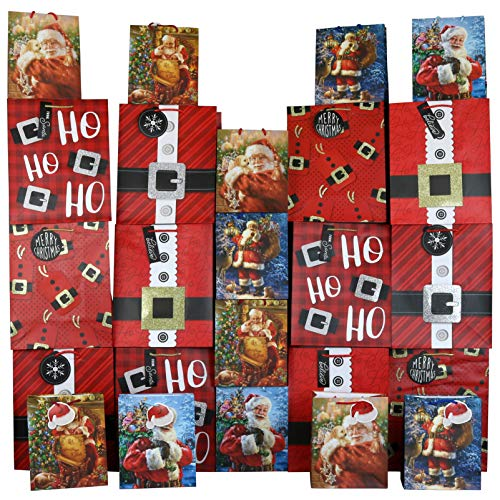 Iconikal Large and Medium Gift Bags for Christmas, Santa Claus, 24-Pack