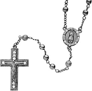 Iced Out Bling Fashion Necklace - Rosary Black Hematite II