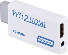 Tensun Wii to HDMI Converter, Wii2HDMI Adapter Output Video Audio with 3.5mm Jack, Support All Wii Display Modes (NTSC 480i 480p PAL 576i) to 720P / 1080P HDTV & Monitor