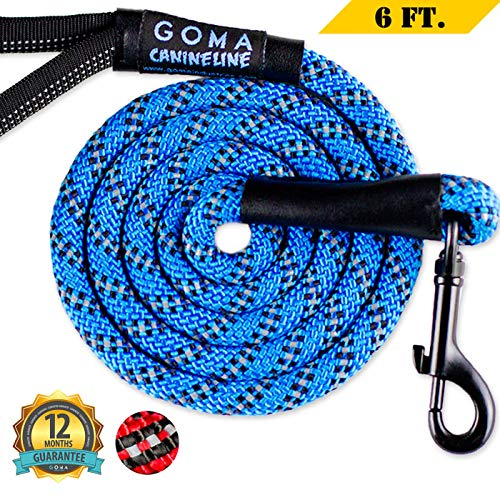 DOG LEASH - Reflective Lead - 100% NYLON safety leashes for night walking acts as light reflective dog leash - dog leashes for small, Medium Large dogs - perfect for dog harness and dog collar