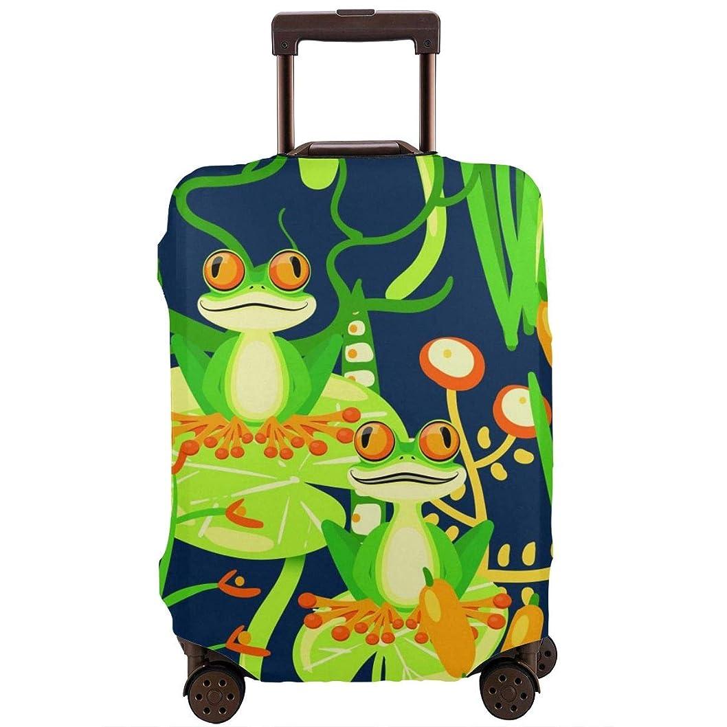 虹アレルギー性司令官スーツケースカバー 伸縮 緑のカエル ファスナー ト ランクカバー ラゲージカバー プリント かわいい 防塵カバー 伸縮素材 おもしろい 旅行 S/M/L/Xlサイズ かっこいい おしゃれ 洗える 耐久性 弾力性 ラゲージカバー キャリーケース