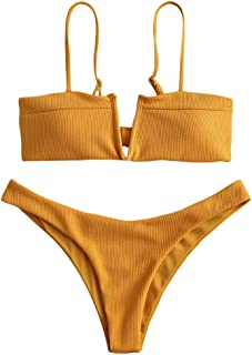 Swimwear V-Wired Ribbed Textured Tie Knot Back Padded Bikini Thong Two Piece Swimsuits