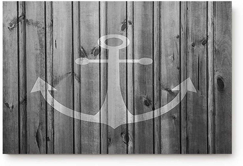 Bulingling Indoor Entrance Rug Floor Mats Non-Slip shoes Scraper Doormat Front Door Bathroom Kitchen Carpet Bedroom Door Mat - Grey Anchor on Old Barn Wood 31.5 x 20 Inch