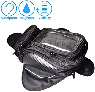 DLLL Motorcycle Magnetic Fuel Tank Bag Waterproof, Motorcycle Backseat Saddle Bag Water Resistant PVC Pocket for Mobile Phones, Convenient Navigation Tail Accessories Bags