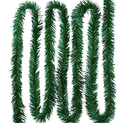 Sysow 5.5 m Pine Christmas Garland Decorative, Green Christmas Garland, Fir Garland Artificial Christmas Tree Rattan Banner Decoration, Flexible Indoor and Outdoor Use