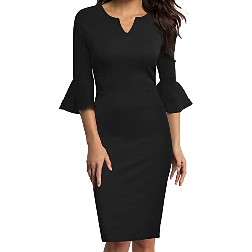 79424336831 WOOSUNZE Womens Flounce Bell Sleeve Office Work Casual Pencil Dress