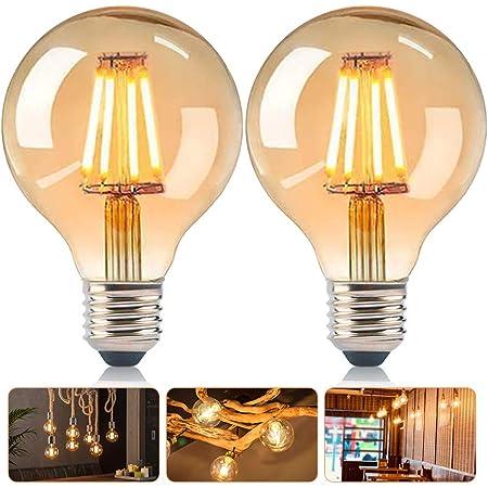 DASIAUTOEM Ampoule LED E27, Lot de 6 Dimmable Lampe Edison Vintage LED G80 4w Ampoule LED Globe E27 Rétro Lampe Décorative Blanc Chaud pour Nostalgie Éclairage, Maison, Café, Bar, Industriel