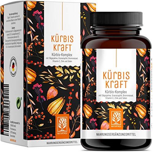 KÜRBISKRAFT Kürbiskern & Sägepalmenextrakt mit Granatapfel, Brennnessel, Vitamin E, Zink & Selen - Vegan von Naturtreu - 120 Kürbiskernkapseln hochdosiert